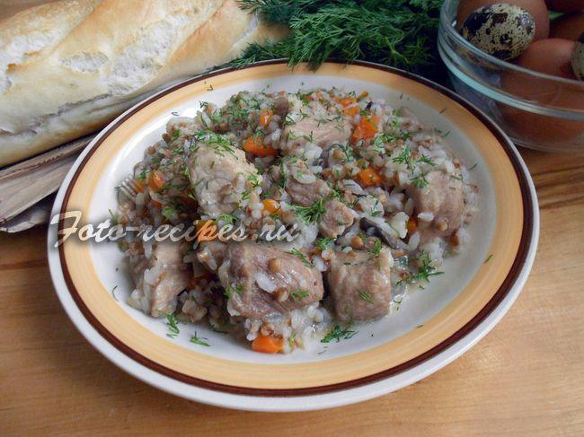 Гречнево-рисовая каша с мясом