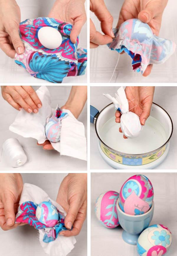 покрасить яйца тканью