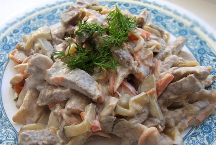 Салат с грибами и говядиной