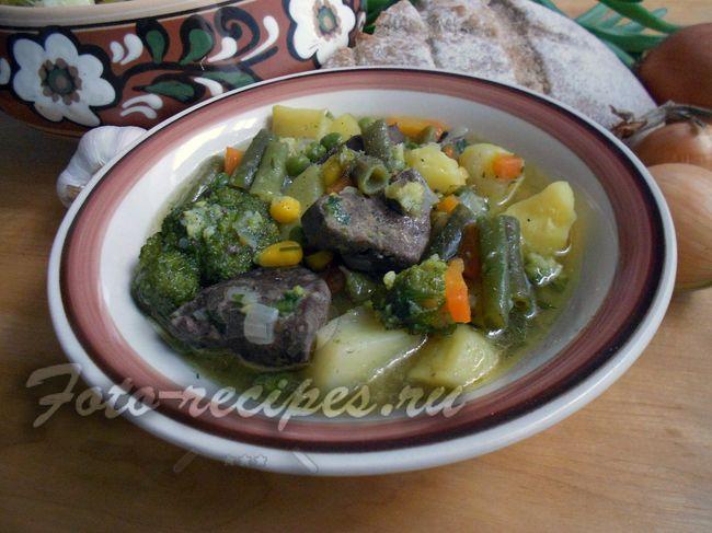Суп из свиной печени с брокколи