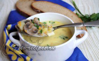Суп с шампиньонами и плавленным сыром
