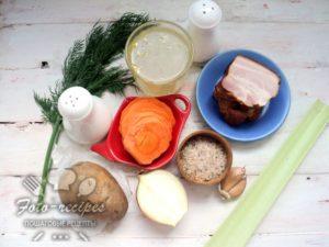 Продукты для супа с копченой грудинкой