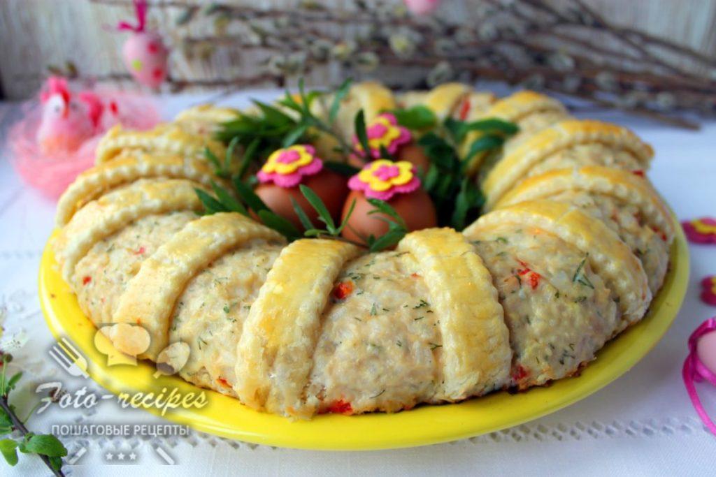 Вкусный пирог с рисом и фаршем