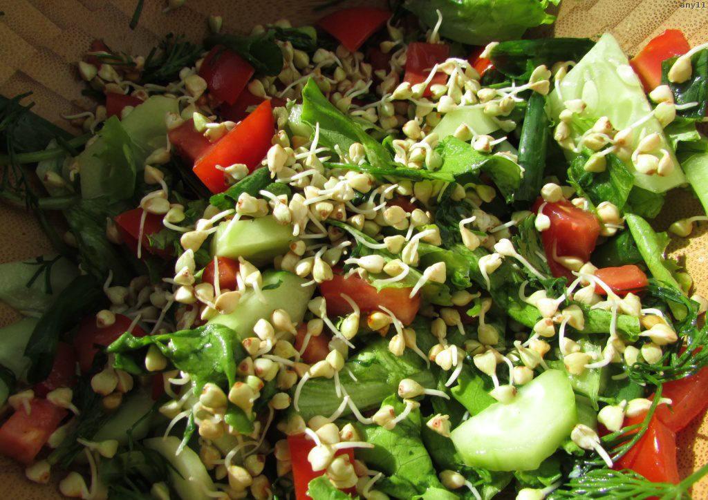 зеленый салат с пророщенной  гречкой